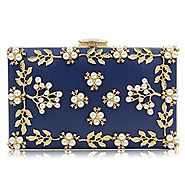 Milisente Pearl Beaded Clutches Purses Bags Flower Wedding Evening Handbag (Navy Blue)
