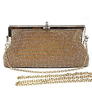 Mlife Women Crystal Clutch Evening Bag with Two Removable Chain Strap (Gold)