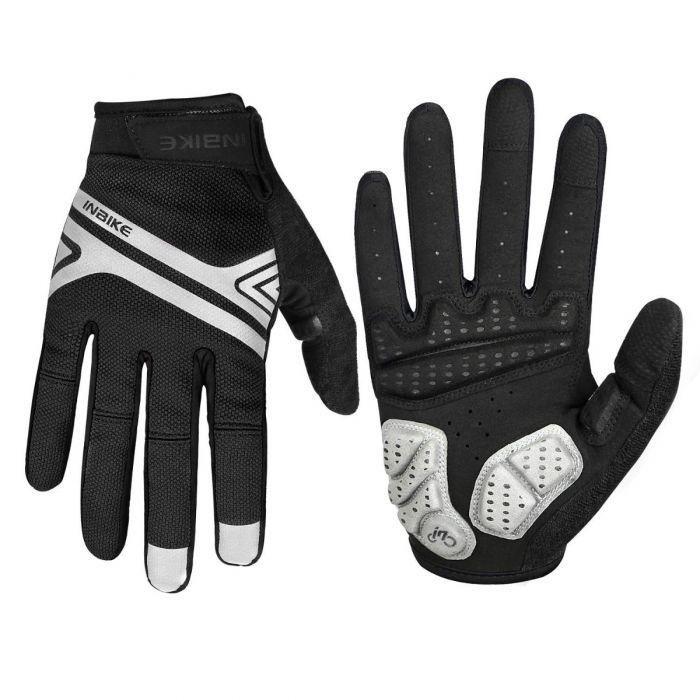 INBIKE Motorcycle Gloves 3mm EVA Palm Pad Motorbike Gloves Full Finger Black X-Large