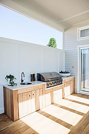 Summer kitchen ideas with barbecue and sink