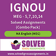 IGNOU MA English MEG (5, 7, 10, 14) Solved Assignment 2019-20 (Combo Pack)