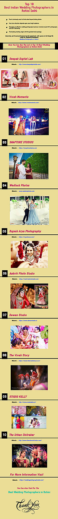 Top 10 Best Indian Wedding Photographers in Rohini Delhi | Infographic