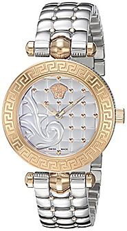 Versace Women's 'Vanitas Micro' Swiss Quartz Stainless Steel Watch, Color:Silver-Toned (Model: VQM110016)