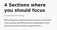 4 Sections where you should focus more during RAS preparation - acharyaclasses1's blog