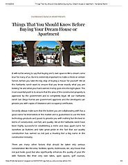 Things that You Should Know Before Buying Your Dream House or Apar..