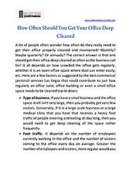 How Often Should You Get Your Office Deep Cleaned