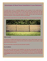 Advantages of Wood Fence Installation in your Backyard