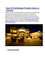 How To Find Budget Friendly Hotels in Amritsar