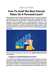 How to avail the best interest rates on a Personal loan?