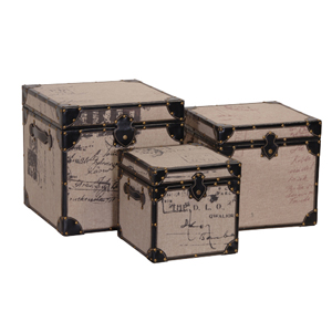 S/3 MED.WOODEN TRUNKS from The Essential Home