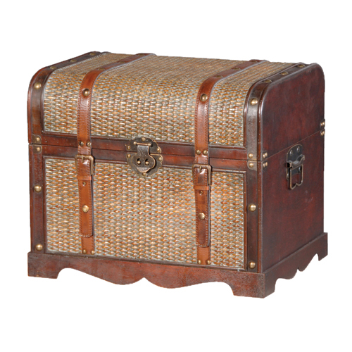 SHAPED ANTIQUE WEAVE TRUNK