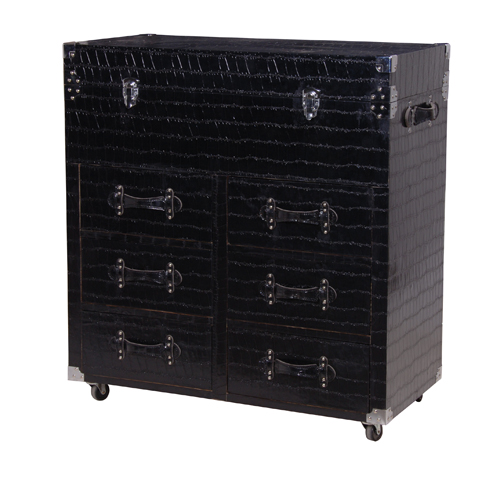 LG.BLACK TRUNK W/DRAWERS