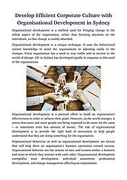 Develop Efficient Corporate Culture with Organisational Development in Sydney