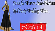 Xclusiveoffer Suits for Women Indo-Western Red Party Wedding Wear.