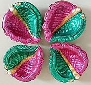 Easy diwali diya decorations with colors.
