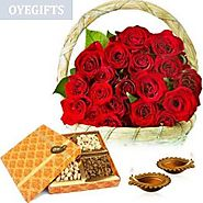 Send Royal Roses & Dryfruits on Diwali Online Same Day Delivery - OyeGifts