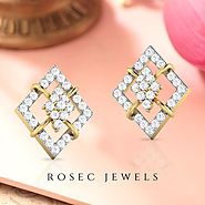 Diamond Cluster Halo Stud Earring, Open Square 14k Yellow/ Rose Gold Studs, Pave Diamond Screw Back Earring