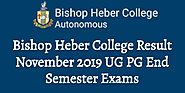 Bishop Heber College Result November 2019 UG PG End Semester Exams