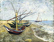 Fishing Boats On The Beach At Saintes Maries Painting by Vincent Van Gogh