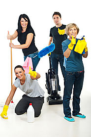Crew of cleaning people