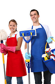 lady with red apron holding broom man with blue apron holding mop and cleaning supply bucket