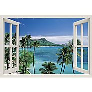 Window Frame Mural At the Seashore - Huge size - Peel and Stick Fabric Illusion 3D Wall Decal Photo Sticker - RoyalWa...