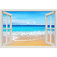 Window Frame Mural Beach - Huge size - Peel and Stick Fabric Illusion 3D Wall Decal Photo Sticker - RoyalWallSkins