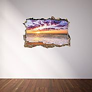 3D Through Wall Fabric Sticker Wall Decal - Sunset on caribbean sea, Peel and Stick Fabric Stickers for Home Decorati...