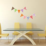 Bunting flags Fabric Wall Decal, Peel and Stick Removable Stickers - RoyalWallSkins