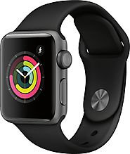 Apple Apple Watch Series 3 (GPS) 38mm Space Gray Aluminum Case with Black Sport Band Space Gray Aluminum MTF02LL/A - ...