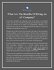 What Are The Benefits Of Hiring An AV Company?