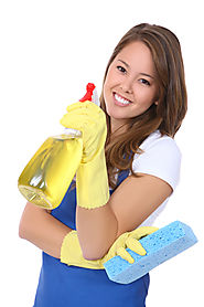 Cleaning Lady with Blue Apron spray bottle with sponge