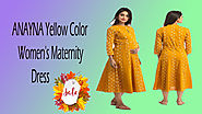 Xcluciveoffer ANAYNA Yellow Color Women's Maternity Dress
