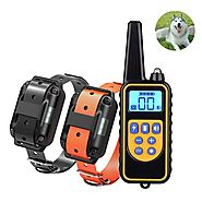 800 Yards Medium Large Rechargeable Waterproof Dog Electronic Training Collar Support 3 Dogs Shock Bark Stop
