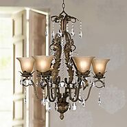 "ESSENCE HOME DECOR Bronze and Crystal Chandelier - 29"" Wide"