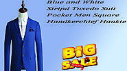 Xclusiveoffer Blue and White Striped Tuxedo Suit Pocket Men Square Handkerchief Hankie.