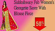 xclusiveoffer.com Siddeshwary Fab Women's Georgette Saree With Blouse Piece.