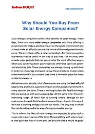 Why Should You Buy From Solar Energy Companies?