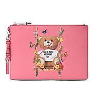 Moschino Botanical Bear Women Leather Clutch Pink