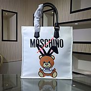 Moschino Playboy Bear Women Leather Tote White