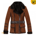 Brown Fur Lined Leather Coats Women CW695116 - CWMALLS.COM