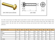 DIn 7985 Screws Brass Pan phillips head Screws Brass Pan head Cross recessed head machine screws