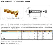 DIN 966 Brass Screws DIn 966 Raised Countersunk Oval head Phillips Cross recessed head machine screws CSK screws.