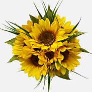Sunflower Artificial Wedding Bouquets | Silk Wedding Flowers with Satin Ribbon Streamers