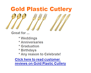 Best Shiny Gold Plastic Cutlery for Weddings, Anniversaries, Birthdays or Graduation