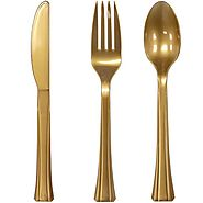 Shiny Metallic Gold Plastic Silverware Cutlery - Best Reviews