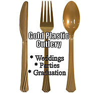Elegant Gold Shiny Plastic Silverware That Looks Real