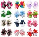 "HipGirl Boutique Girls 12pc Set Small 3"" Spike Hair Bow Clips, Barrettes."