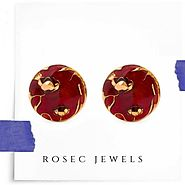 Enamelled Bloom Maroon Cufflinks, Brass Gold Cufflinks for Him, Jewelry for Him