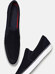 Buy Mast & Harbour Men Navy Blue & Black Slip On Sneakers - Casual Shoes for Men 6793848 | Myntra